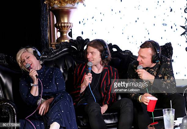 Radio personality Kat Corbett Matt Shultz and Brad Shultz of Cage The Elephant attend 1067 KROQ Almost Acoustic Christmas 2015 at The Forum on...