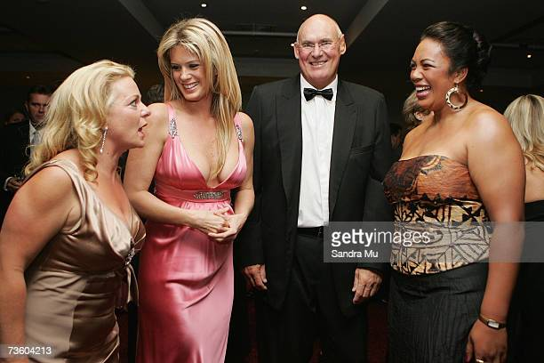 Radio personality Kerre Woodham talks with Rachel Hunter her agent Former All Black Andy Haden and New Zealand discus thrower Beatrice Faumuina at...