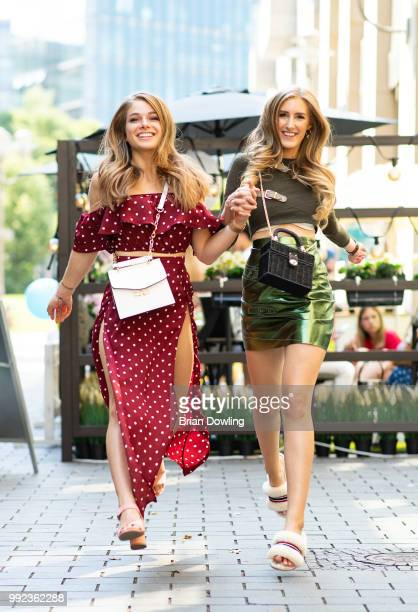 Radio personality Lola Weippert and Leslie Huhn attend the HashMAG Blogger Lounge on July 5, 2018 in Berlin, Germany.