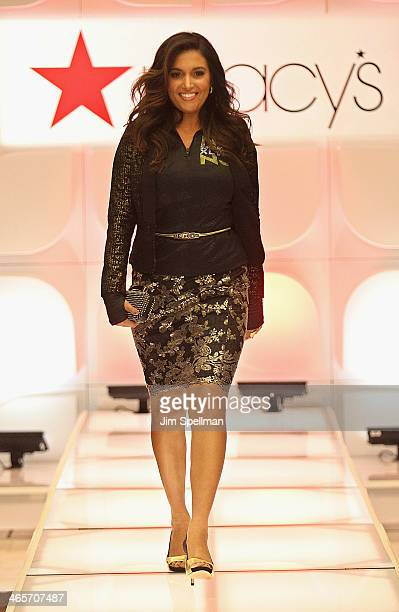Radio personality Molly Qerim walks the runway at Macy's Warm Welcome To Super Bowl XLVIII at Macy's Herald Square on January 28 2014 in New York City