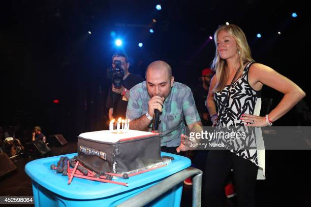 Radio personality Peter Rosenberg and wife Alexa Rosenberg celebrate Peter Rosenberg's birthday at PeterPalooza 3 at Best Buy Theater on July 23 in...
