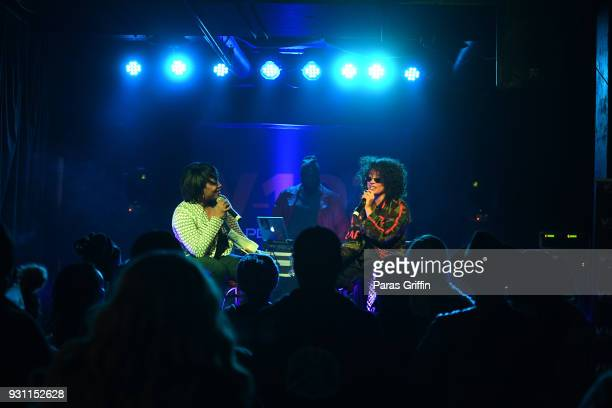 Radio personality Ramona Debreaux and recording artist DaniLeigh onstage at V103 presents Exclusive Listening Party With Def Jam's Dani Leigh at...