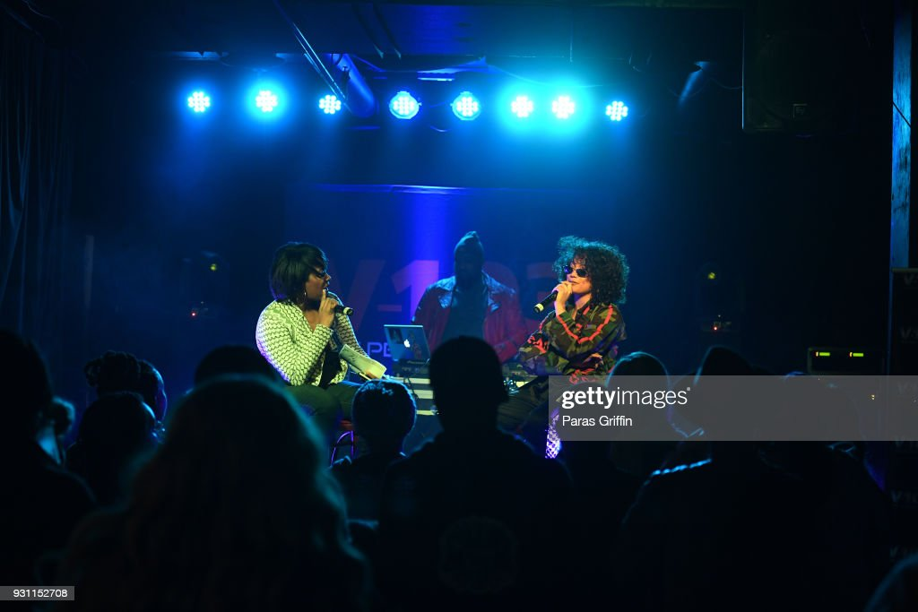 Radio personality Ramona Debreaux and recording artist DaniLeigh onstage at V-103 presents Exclusive Listening Party With Def Jam's Dani Leigh at Vinyl - Center Stage on March 12, 2018 in Atlanta, Georgia.