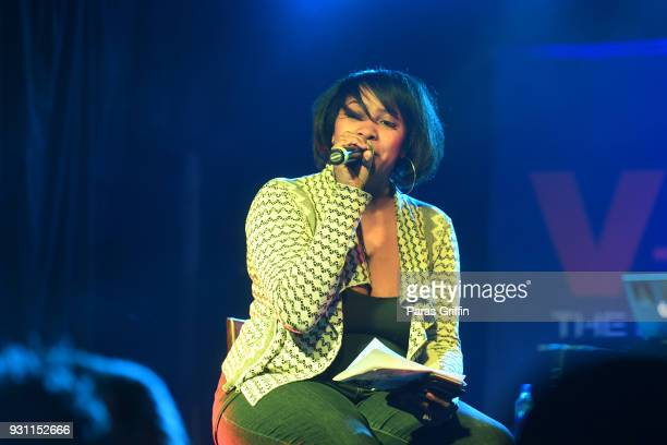 Radio personality Ramona Debreaux speaks onstage at V103 presents Exclusive Listening Party With Def Jam's Dani Leigh at Vinyl Center Stage on March...