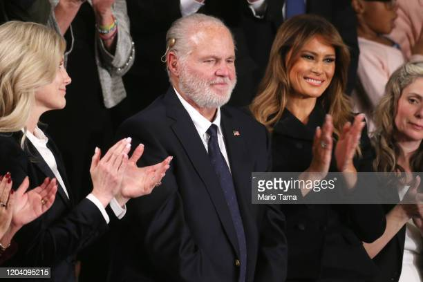 Radio personality Rush Limbaugh and wife Kathryn attend the State of the Union address with First Lady Melania Trump in the chamber of the US House...