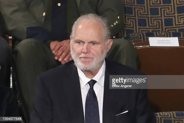 Radio personality Rush Limbaugh sits in the First Lady's box ahead of the State of the Union address in the chamber of the US House of...