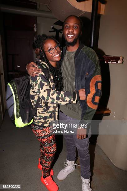 Radio personality Scottie Beam and recording artist CJ Fly attend The Taylor Bennett Show at SOB's on April 5 2017 in New York City