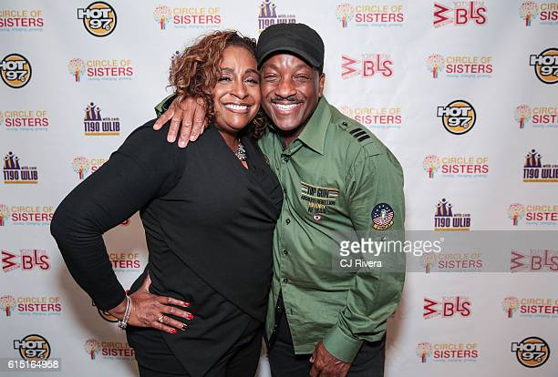 Radio personality Shaila Scott and Radio DJ Donnie Simpson attend the '2016 Circle of Sisters' at Jacob Javits Center on October 16 2016 in New York...