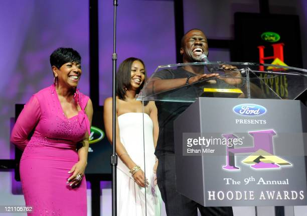 Radio personality Shirley Strawberry, Multicultural Marketing Manager at The Ford Company Shawn Lollie, and actor Kevin Hart speak onstage during the...