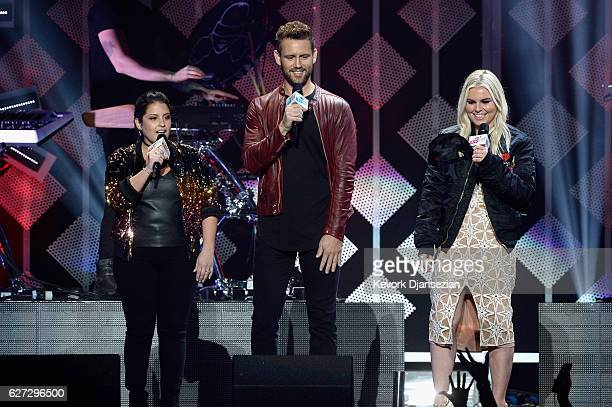 Radio personality Sisanie TV personality Nick Viall and radio personality Tanya Rad speak onstage during 1027 KIIS FM's Jingle Ball 2016 at Staples...