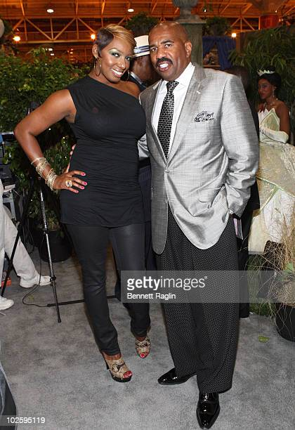 Radio personality Steve Harvey and Nene Leakes attend the 2010 Essence Music Festival at the Convention Center on July 2 2010 in New Orleans Louisiana