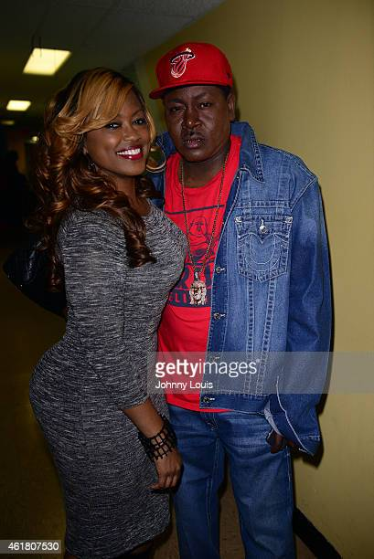 Radio personality Supa Cindy and Trick Daddy backstage during The Festival of Laughs day1 at James L Knight Center on January 16 2015 in Miami Florida