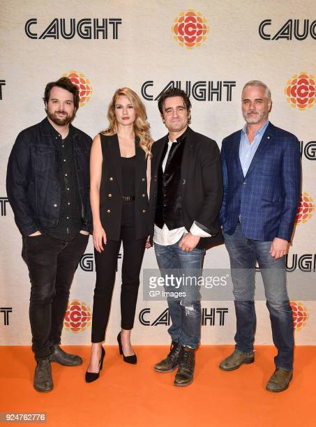 Radio Personality Tom Power and Actors Tori Anderson Allan Hawco and Paul Gross attend CBC hosts world premiere of 'Caught' at TIFF Bell Lightbox on...
