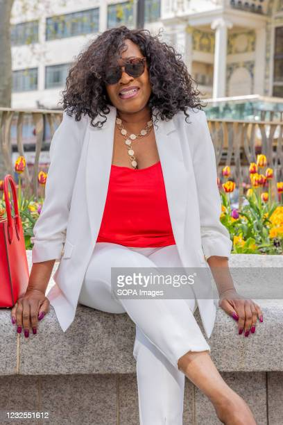 Radio Presenter, Angie Greaves, celebrates her birthday today by having photo's taken in London's Leicester Square.