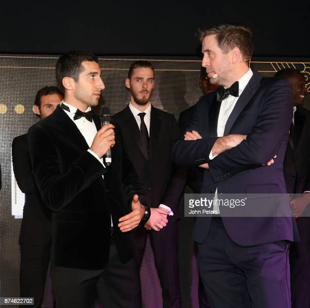 Radio presenter Mark Chapman interviews Henrikh Mkhitaryan of Manchester United at the annual United for UNICEF gala dinner at Old Trafford on...