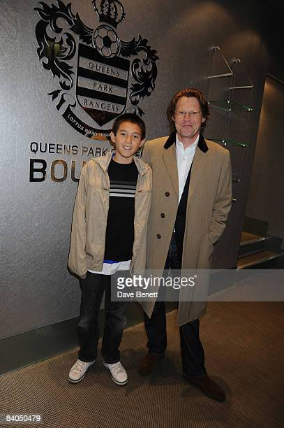 Radio presenter Robert Elms and son Alfie attend a gala evening at QPR Football Club to celebrate the opening of the exclusive Century Club on...