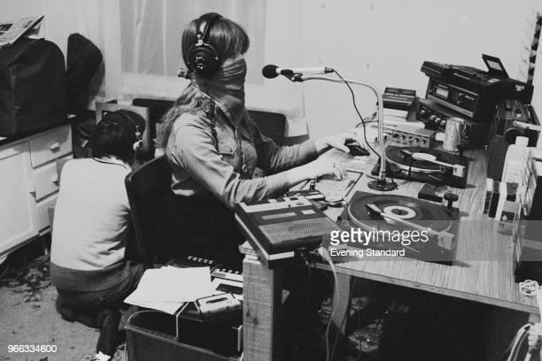 Radio presenters broadcasting at pirate Radio AMY , London, UK, 16th February 1979.