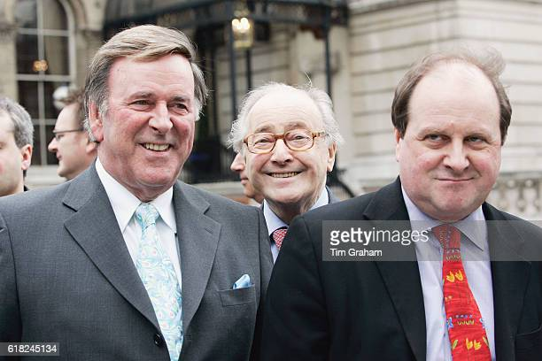 Radio presenters Terry Wogan David Jacobs and James Naughtie await the arrival of Queen Elizabeth II outside BBC Broadcasting House to mark the 80th...