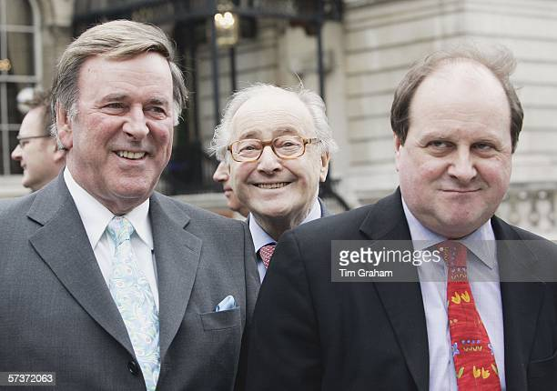 Radio presenters Terry Wogan David Jacobs and James Naughtie pose outside the BBC Broadcasting House as they await the arrival of Queen Elizabeth II...