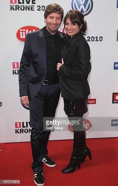 Radio presenters Thorsten Schorn and Sabine Heinrich attend the '1Live Krone' Music Awards at the Jahrhunderthalle on December 2 2010 in Bochum...
