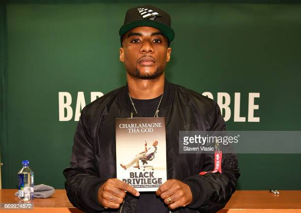 Radio presenter/TV personality Charlamagne Tha God signs copies of his new book 'Black Privilege Opportunity Comes To Those Who Create It' at Barnes...