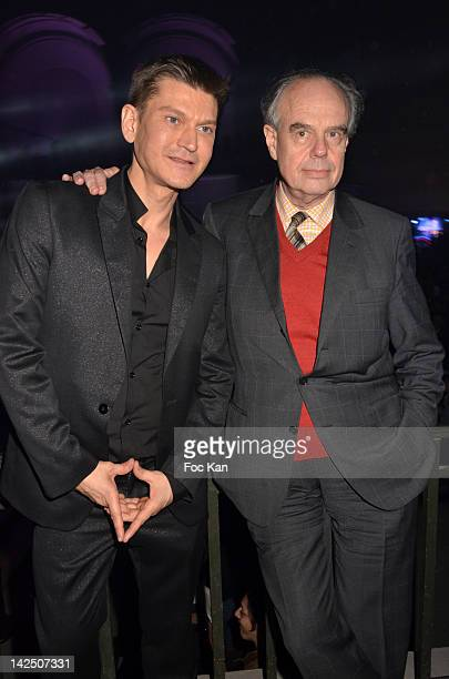 Radio president Antoine Baduel and Minister Frederic Mitterrand attend the Radio FG 20th Anniversary Celebration at Le Grand Palais on April 5 2012...