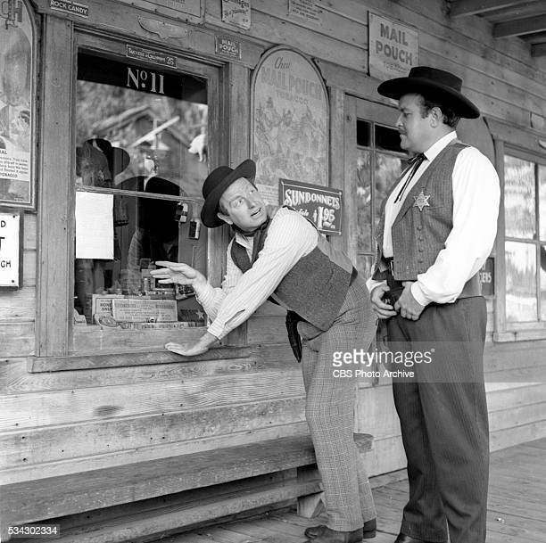 Radio program Gunsmoke featuring from left Parley Baer and William Conrad Image dated February 1 1955 Los Angeles CA