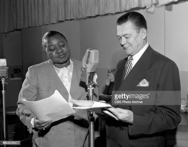 Radio program The Beulah Show Pictured is Hattie McDaniel who plays the title role of Beulah with Hugh Studebaker who plays Harry Henderson Beulahs...
