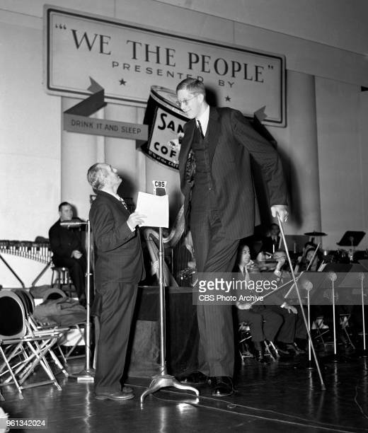 Radio program We The People with master of ceremonies Gabriel Heatter and guest Robert Wadlow who is also known as the Alton Giant and the Giant of...