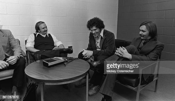 Radio Reporter with Harvey Weinstein and Corky Berger before the Stones concert at Rich Stadium in Buffalo, New York August 8, 1975.