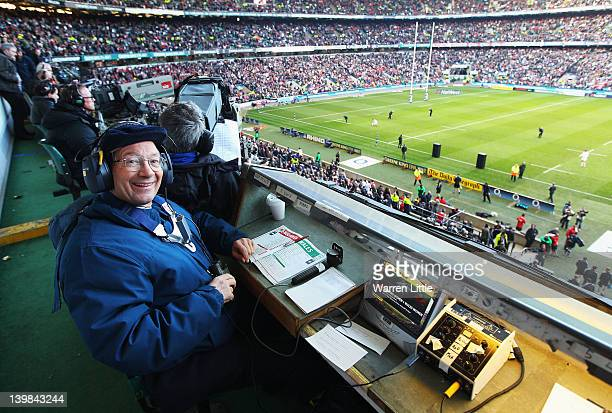 Radio rugby commentator Ian Robertson poses ahead of the RBS 6 Nations match between England and Wales at Twickenham Stadium on February 25 2012 in...
