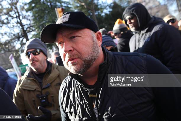 Radio show host Alex Jones joins thousands of gun rights advocates attending a rally organized by The Virginia Citizens Defense League on Capitol...