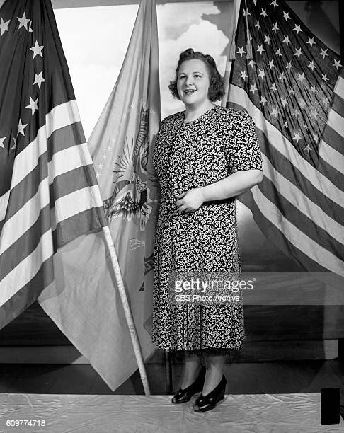 Radio singer Kate Smith photographed with United States flags Photo Dated June 18 1940 New York NY