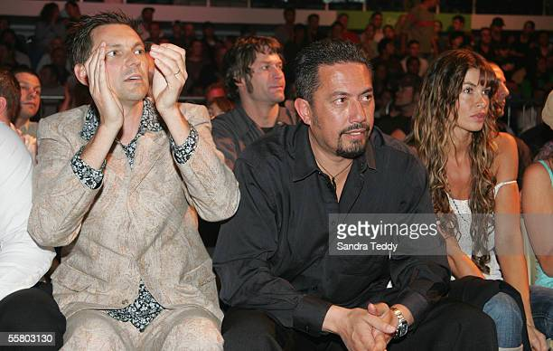 Radio Sport breakfast host Martin Devlin Comedian Mike King and model Nicky Watson watch the fights at the K1 Kickboxing Oceania Max held at Trusts...