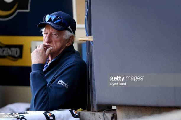 Radio sportscaster Bob Uecker looks on during batting practice before the game between the Milwaukee Brewers and the Pittsburgh Pirates at Miller...