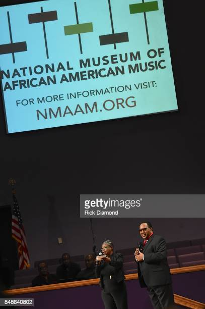 Radio Station 92Q's Connie Denell and Dr Bobby Jones speak onstage during an Evening with Richard Smallwood and Yolanda Adams benefiting The National...
