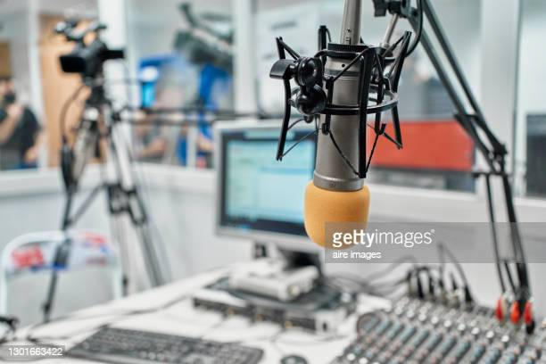 radio station microphone in broadcast room. - radio stock pictures, royalty-free photos & images