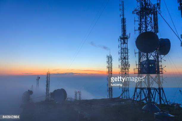 radio station - communications tower stock pictures, royalty-free photos & images