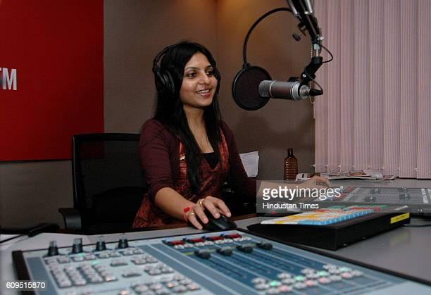 Radio Studio Fever 104 FM RJ for a day Kinjal Dagli in Fever 104 Radio station at Andheri