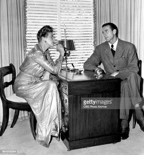 Radio talent and comedienne Fanny Brice at home From left is Fanny Brice and William Brice August 15 1944 Address 312 North Faring Road Holmby Hills...