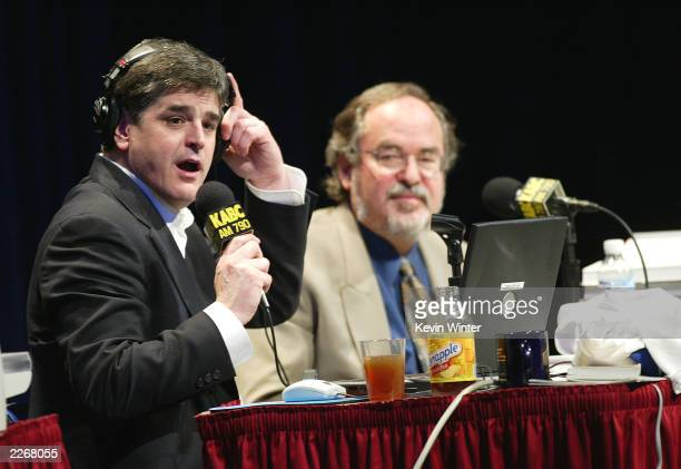 Radio talk host Sean Hannity with guest author David Horowitz does his show live in front of an audience as Talkradio 790 KABC presents the...