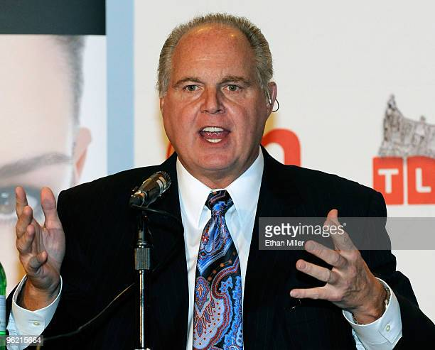 Radio talk show host and conservative commentator Rush Limbaugh one of the judges for the 2010 Miss America Pageant speaks during a news conference...