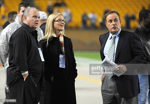 Radio talk show host and political commentator Rush Limbaugh and his wife Kathryn Rogers look on from the sideline with NBC Sunday Night Football...