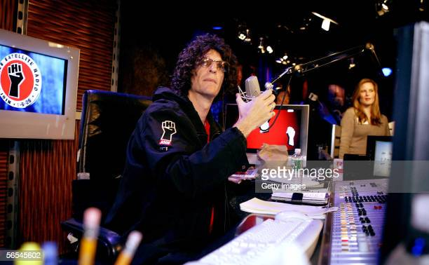 Radio talk show host Howard Stern debuts his show on Sirius Satellite Radio January 09 2006 at the network's studios at Rockefeller Center in New...