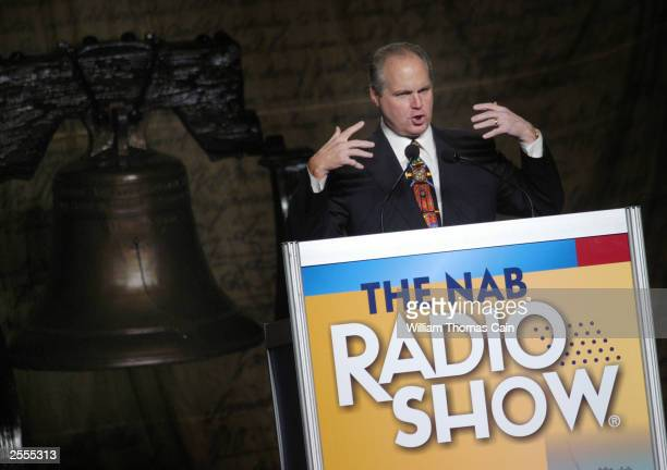 Radio talk show host Rush Limbaugh makes remarks at the National Association of Broadcasters October 2 2003 in Philadelphia Pennsylvania Limbaugh...