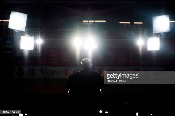 Radio talk show host Rush Limbaugh speaks at a Make America Great Again rally in Cape Girardeau Missouri on November 5 2018 / The erroneous...