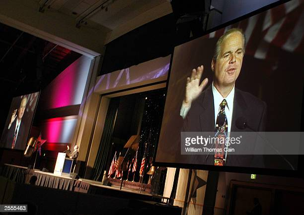 Radio talk show host Rush Limbaugh speaks at the National Association of Broadcasters October 2 2003 in Philadelphia Pennsylvania Limbaugh resigned...