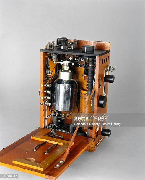 Radio telephony transmitter for use with aircraft, with a round valve and microphone. World War I saw the first attempts at installing radio...
