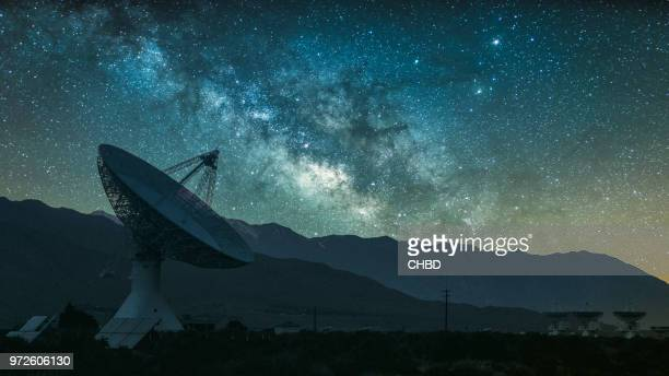 radio telescope against rising milky way - satellite dish stock pictures, royalty-free photos & images