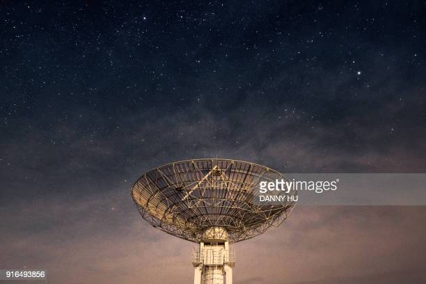 radio telescope at night, beijing - receiver stock pictures, royalty-free photos & images